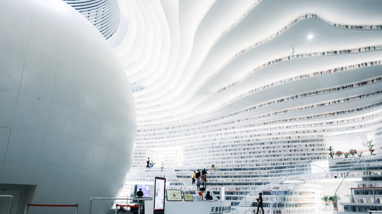 Kilometer long LED strip lights in the Tianjin Binhai library - OSRAM